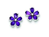 Sterling Silver Amethyst Floral Earrings style: QE1148