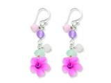 Sterling Silver Amethyst/agate/blue Topaz Flower Earrings style: QE1306