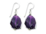 Sterling Silver Large Amethyst Stone Dangle Earrings style: QE1332