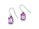 Sterling Silver Antiqued Pink Cubic Zirconia Earrings style: QE1747