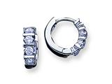 Sterling Silver Cubic Zirconia Hoop Earrings style: QE1805