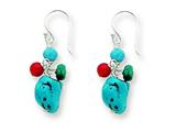 Sterling Silver Dyed Howlite/turquoise/red Coral Earrings style: QE2547