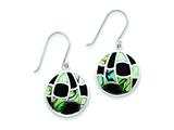 Sterling Silver Onyx and Abalone Earrings style: QE2729
