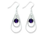 Sterling Silver Amethyst Dangle Earrings style: QE3043