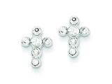 Sterling Silver Cubic Zirconia Cross Earrings style: QE3082