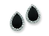 Sterling Silver Tear Drop Shape Cubic Zirconia And Onyx Earrings style: QE3103