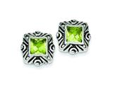 Sterling Silver Green Cubic Zirconia Square Earrings style: QE3106