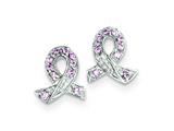 Sterling Silver Pink Cubic Zirconia Ribbon Earrings style: QE3115