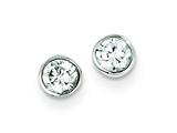 Sterling Silver 4mm Cubic Zirconia Round Bezel Stud Earrings style: QE3173