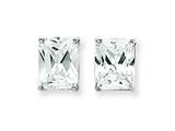 Sterling Silver Emerald Cubic Zirconia Stud Earrings style: QE321