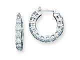 Sterling Silver Cubic Zirconia Hoop Earrings style: QE3227