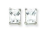 Sterling Silver Emerald Cubic Zirconia Stud Earrings style: QE322