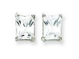 Sterling Silver Emerald Cubic Zirconia Stud Earrings style: QE322