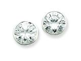 Sterling Silver 10mm Cubic Zirconia Round Bezel Stud Earrings style: QE3266
