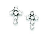 Sterling Silver Cubic Zirconia Cross Post Earrings style: QE4771