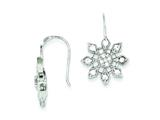 Sterling Silver Cubic Zirconia Snowflake Earrings style: QE4783
