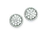 Sterling Silver Round Cubic Zirconia Post Earrings style: QE4941
