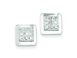 Sterling Silver Cubic Zirconia Square Post Earrings style: QE4951