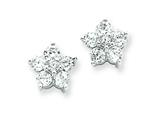 Sterling Silver Cubic Zirconia Flower Post Earrings style: QE4952
