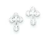 Sterling Silver Cross Mini Earrings style: QE509