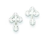 Sterling Silver Cross Mini Earrings style: QE509