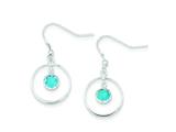 Sterling Silver Circle Dangle Blue Cubic Zirconia Earrings style: QE5147