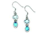 Sterling Silver Blue Topaz Dangle Earrings style: QE5154