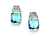 Sterling Silver Blue and Clear Cubic Zirconia Post Earrings style: QE5158