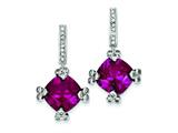 Sterling Silver Dark Pink and Clear Cubic Zirconia Post Earrings style: QE5184