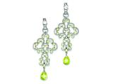 Sterling Silver Light Green Cubic Zirconia Chandelier Earrings style: QE5212