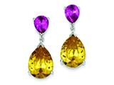 Sterling Silver Yellow Cubic Zirconia and Pink Sapphire Dangle Post Earrings style: QE5227