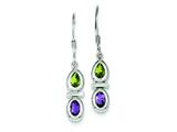 Sterling Silver Peridot and Amethyst Dangle Earrings style: QE5234