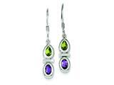 Finejewelers Sterling Silver Peridot and Amethyst Dangle Earrings style: QE5234
