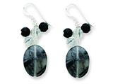 Sterling Silver Black Agate/crystal/tourmalinated Qtz Earrings style: QE5472