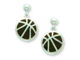 Sterling Silver Basketball Resin Earrings style: QE5673