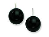 Sterling Silver 12-12.5mm Black Agate Earrings style: QE6338