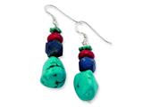 Sterling Silver Red Coral/howlite/lapis and Turquoise Dangle Earrings style: QE6386