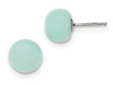 Sterling Silver 10-10.5mm Button Amazonite Post Earrings style: QE6392