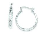 Sterling Silver 4mm Bright-cut Hoop Earrings style: QE6812