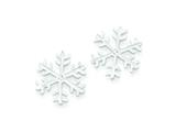Sterling Silver and Cubic Zirconia Polished Snowflake Post Earrings style: QE6910