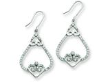 Sterling Silver Fancy Hearts Cubic Zirconia Dangle Earrings style: QE7269