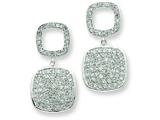 Sterling Silver Open Cubic Zirconia Square and Hanging Full Square Cubic Zirconia Post Dangle Earrings style: QE7270
