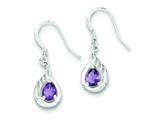 Sterling Silver and Amethyst Polished Fancy Dangle Earrings style: QE7317