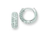 Sterling Silver Cubic Zirconia Hinged Hoop Earrings style: QE7325