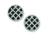 Sterling Silver Black and White Cubic Zirconia Round Omega Back Earrings style: QE7343