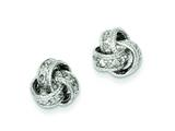 Sterling Silver Cubic Zirconia Love Knot Post Earrings style: QE7355