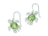 Sterling Silver Clear, Green And Blue Cubic Zirconia Turtle Dangle Earrings style: QE7403