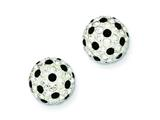 Sterling Silver White and Black Swarovski Crystal 10mm Post Earrings style: QE7445