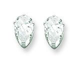 Sterling Silver 6x4 Pear Cubic Zirconia Stud Earrings style: QE7540