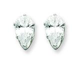 Sterling Silver 8x5 Pear Cubic Zirconia Stud Earrings style: QE7541